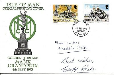 Geoff Duke & Freddie Frith Hand Signed Isle Man Manx Grand Prix FDC TT Races