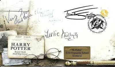 Leslie Phillips Matt Lewis Tom Felton Verne Troyer Hand Signed Harry Potter FDC