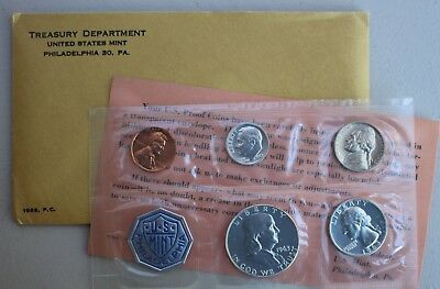 1963 US 5 Coin Proof Set Silver Coins and Envelope with Franklin Half Dollar