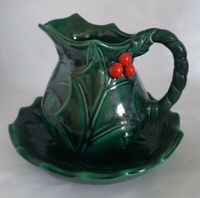 Vintage Lefton Green Holly Berry Creamer Gravy Boat & Under Plate Red Tags #5188