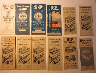 Lot of 12 Old 1933-1965 - S.P. Railroad - TIME TABLES Brochures Southern Pacific