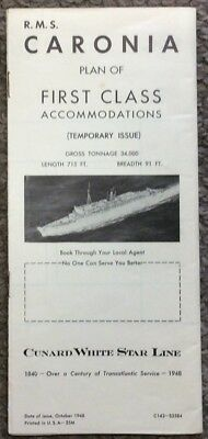 Vintage 1948 Cunard RMS Caronia First Class Accommodations / Deck Plans