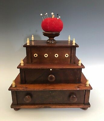 Antique Mahogany Shaker? Sewing Box W Pull Out Mirror c.1850-1880