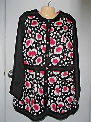 Koi Limited Edition 3X womens long sleeve floral pink black white scrub jacket