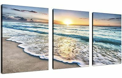 Framed Beach Canvas Wall Art 3 Panel Sunset Ocean Picture Hang Home Decor Gift