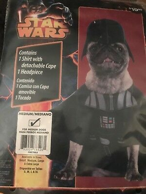 New Disney Dog Star Wars Darth Vader Pet Dress Up Halloween Costume - Medium