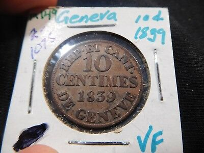 M149 Switzerland Geneva 1839 10 Centimes VF