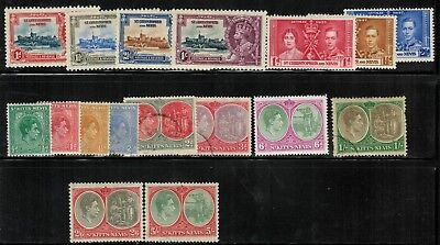 St.Kitts-Nevis #72-88 Complete Set 1935-48 MH/Used(82-4,86)