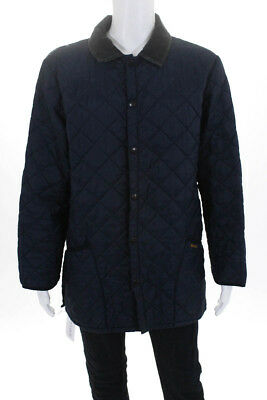 Barbour Mens Jacket Size Large Navy Blue Gray  Quilted Pocket Long Sleeve