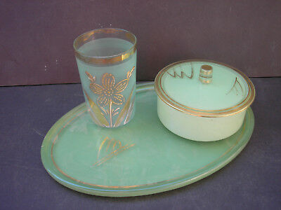Vintage Green Depression Vanity Box, Tray and Glass with Gold Highlights - 3 pc