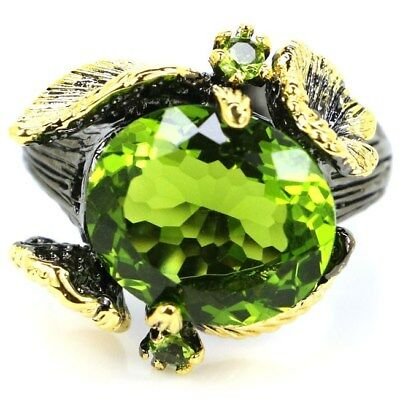 Sublime Antique Vintage Green Peridot Man Present Black Gold Silver Ring US 9.0#