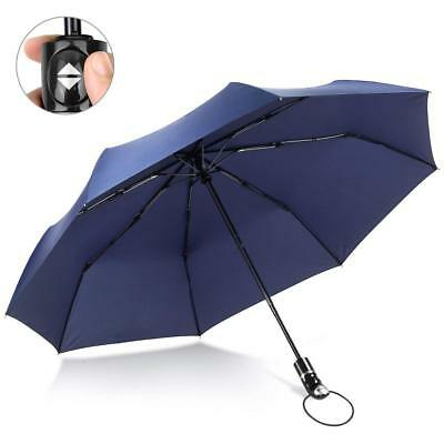 Fnova Windproof Travel Umbrella Golf Umbrella Auto Open Close Navy Blue Umbrella