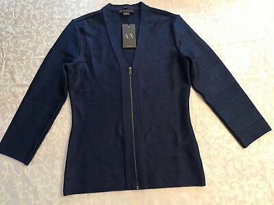 NEW NWT WOMENS ARMANI EXCHANGE ZIP UP BLUE CARDIGAN SWEATER M retail $88