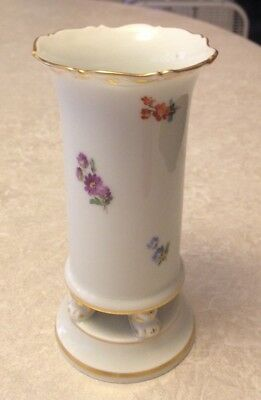 Antique Spill Vase Floral Leaf Gilt Decoration Meissen Porcelain Footed
