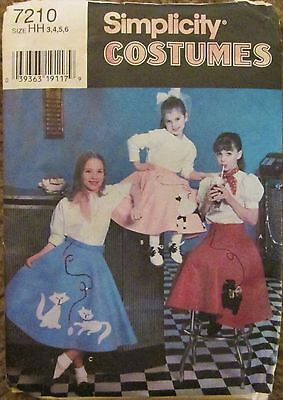 SIMPLICITY Sewing Pattern #7210 GIRLS CIRCLE POODLE SKIRT 1996 Sz 3-6 UNCUT