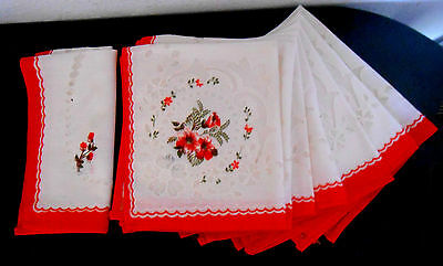 """8 Vintage 14x12"""" NAPKINS w LACE INSERTS - White w Red Border Red & White Flowers"""