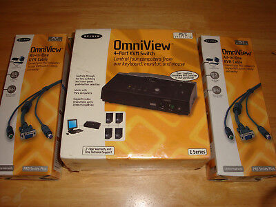 Omniview 4 Port KVM Switch and 2 All-in-one KVM Cables - Brand New