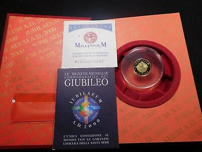 M254 Italy Vatican City 2000 GOLD Jubilee Millenium Christ Proof w/ BOX & COA
