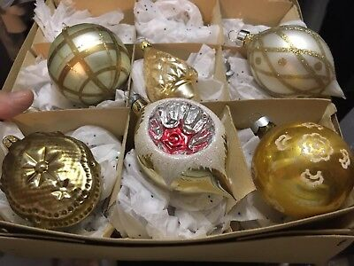 Vintage Mix Lot Mercury Glass Christmas Ornaments Indents,teardrops, USA