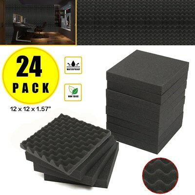 24 Pack Acoustic Studio Soundproofing Egg Crate Foam Wall Tiles 12 x 12 x 1.5''