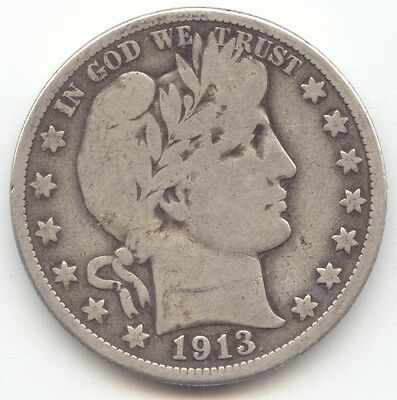 1913 Barber Half Dollar, Key Date, Nice VG, Scarce Philadelphia Mint