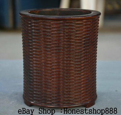 """6"""" Old Chinese Red Wood Carving Dynasty Palace Pencil Vase Brush Pot"""