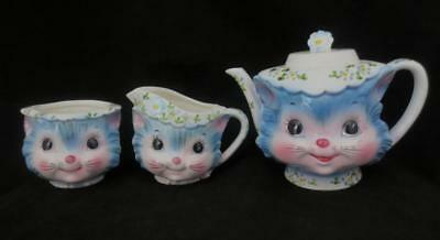 Vintage LEFTON MISS PRISS Cat Kitten 4-Cup TEAPOT. CREAMER & SUGAR BOWL (No Lid)