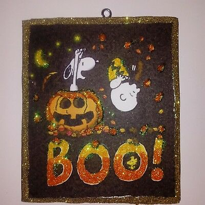 BOO! Peanuts Charlie Brown Halloween Glitter Wood  Ornament