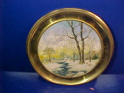 19thc VICTORIAN Era BRASS FLUE COVER with HAND PAINTED WINTER Scene