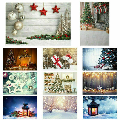 3x5/5x7ft Xmas Vinyl Backgrounds Christmas Tree Bell Gifts Photography Backdrops
