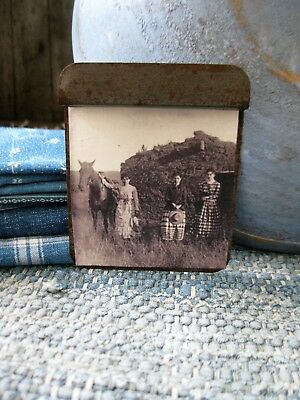 Early Antique Tin Toy Pan with Old Photo Print Sod House
