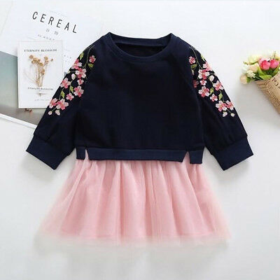 Newborn Baby Girls Floral Tops Shirt Tutu Tulle Skirts Autumn Outfit Clothes USA