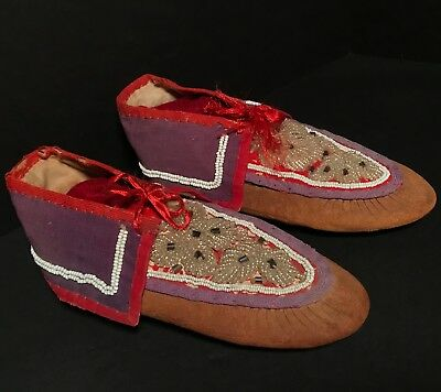 NORTHEASTERN WOODLANDS MOHAWK BEADED LEATHER MOCCASINS,Excellent,New York,c1880