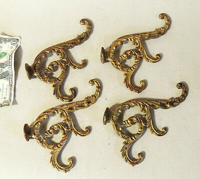 4 Lot Victorian Antique vtg Ornate Coat HOOKS with Curved Base Brass/Cast Iron