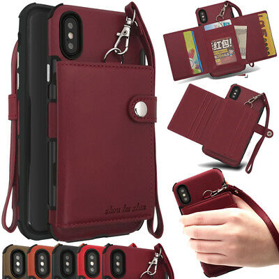 Leather Multi Function Snapped Wallet Credit Card Case Holder For IphoneX/8/7+