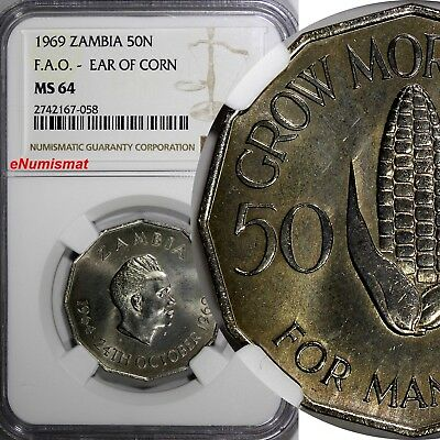 Zambia 1969 50 Ngwee NGC MS64 Ear of corn FAO TOP GRADED BY NGC KM# 14