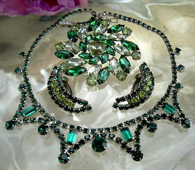 Beautiful Emerald Green Rhinestone Bib Necklace 2-Tone Earrings Pin Brooch Lot