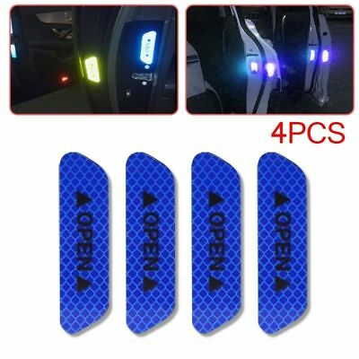 4pcs Universal Blue Car Door Open Sticker Reflective Tape Safety Warning Decal