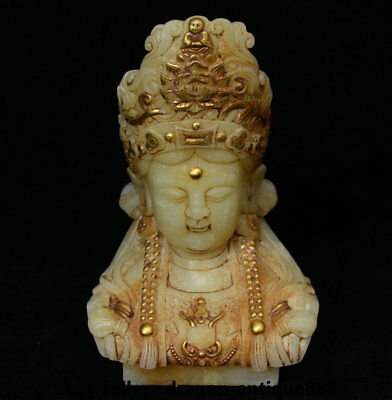 """8"""" Chinese Natural Old White Jade Jadetie Carved Kwan-Yin Guan Yin Head Statue"""