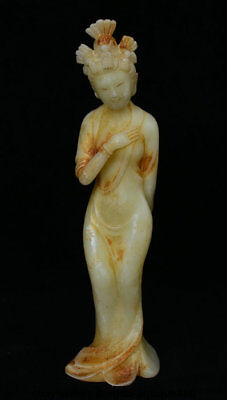 """11"""" Chinese Natural Old White Jade Jadetie Carved Stand Belle Woman Sculpture"""