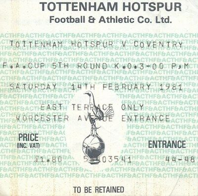 TICKET: Tottenham v Coventry City (FA Cup) 1980/1 - Spurs Cup Winners