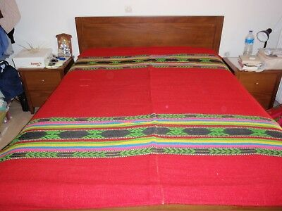 Traditional handmade woven Greek blankets made in loom in 1940 (170x210cm^2)