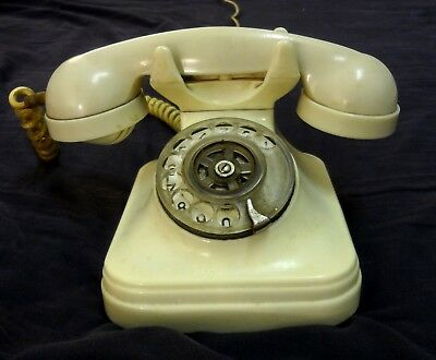 Antique 1930S Vintage First White Bakelite Phone By Btmc (Western Electric) Rare