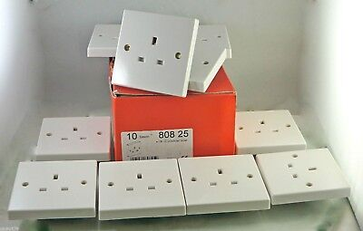 10 x Legrand 80825 13A 1 Gang UnSwitched Socket White