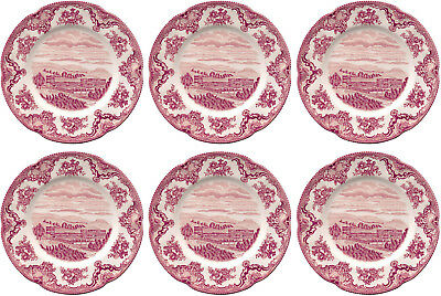 "JOHNSON BROS OLD BRITAIN CASTLES PINK 6 x PLATES 20cm / 8"" - NEW/UNUSED"