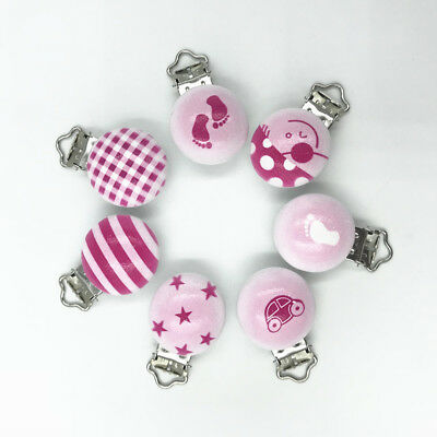 Pink series Baby Pacifier Clip Wood Teether Accessories Soother Clasps Holders