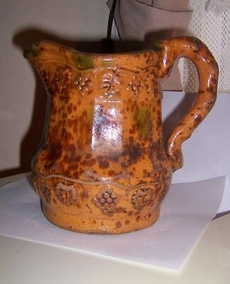early 19c. ANTIQUE REDWARE spotted GLAZE  PITCHER Primitive worn snake handle