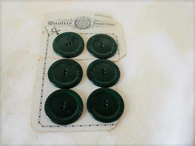 6 Vintage Art Deco Green Celluloid  or Other Plastic Buttons 1 3/8 In.