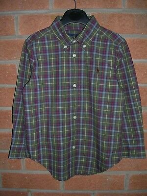 RALPH LAUREN Boys Olive Green Checked Long Sleeve Shirt Age 3 98cm