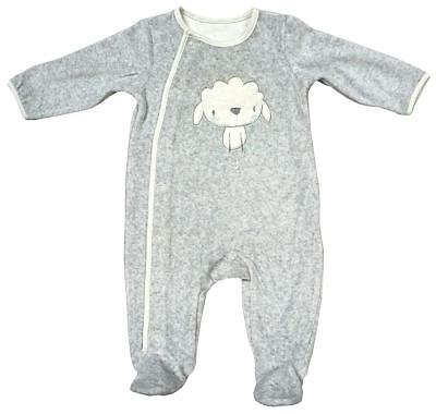 Baby Grey Lamb Motif Velour Sleepsuit Romper Prem Early Tiny Baby to 6 Months